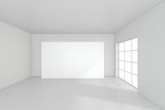 Horizontal blank billboard in white room. 3d rendering Stock Images