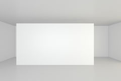 Horizontal blank billboard in white room. 3d rendering Royalty Free Stock Photo