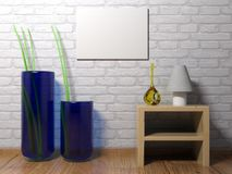 Horizontal empty canvas hanging on the wall - 3D rendering. An horizontal blank canvas is hanging on a white brick wall of a room having wooden pavement, some Stock Images