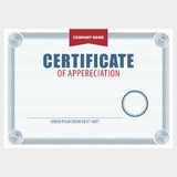 Horizontal blank certificate. The document with the secret grid and place for stamp. Vector Stock Photo