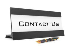 Horizontal Blank Table Card Tag with Contact Us Sign. 3d Renderi Stock Photos