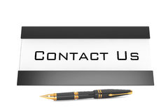 Horizontal Blank Table Card Tag with Contact Us Sign. 3d Renderi Stock Images