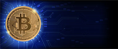 Horizontal blue background with bitcoin and microcircuit. Horizontal web banner  with golden bitcoin and dark blue background with microchip and place for your Royalty Free Stock Photography