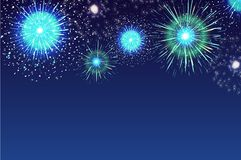 Horizontal blue background with fireworks displaying in dark evening sky. Backdrop decorated with glittering lights. Festival celebration, eye-catching Royalty Free Stock Images