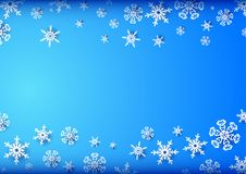 Horizontal blue frame with snowflakes Royalty Free Stock Photography