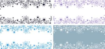 2 bright horizontal blue banners with snowflakes and stars for a winter or Christmas design. Horizontal blue and purple banners with snowflakes and stars for a vector illustration