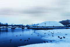 Horizontal blue winter park Stock Image