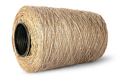 Horizontal bobbin of old dirty thread beige Royalty Free Stock Image
