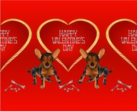Horizontal border seamless background dog puppy small happy  brown terrier and heart valentines place for text red background