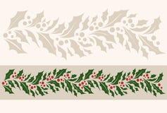 Horizontal border seamless pattern with Christmas holly. Vector illustration royalty free illustration