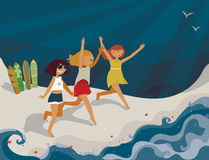 Horizontal bright illustration with young girls going to the sea. Vector image, with surf boards, sea, fun and happy girls. Blue s Stock Photo