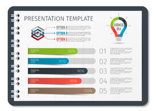 Horizontal Brochure or book or notepad with springs business infographic template. Template for presentation background Stock Photo