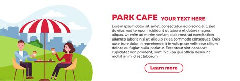 Horizontal brochure design for park cafe. couple is relaxing in an outdoor cafe in city park on a grassy lawn under a striped vector illustration