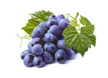 Horizontal bunch of blue grapes isolated on white background stock photos