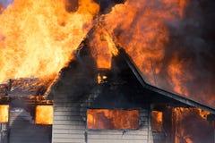 Horizontal Burning House Stock Photo
