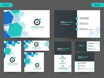 Horizontal business card with front and back presentation. Horizontal business card with  different size front and back presentation Royalty Free Stock Photo