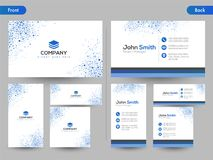 Horizontal business card with front and back presentation. Horizontal business card set with front and back presentation vector illustration
