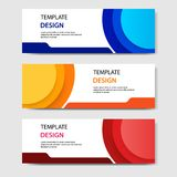 Horizontal geometric shape banner template abstract paper cut style. Vector design layout for web, banner, header, print flyers. Horizontal business corporate royalty free illustration