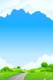Horizontal - côte verte avec l'arbre et le cloudscape illustration de vecteur