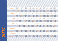 2014 Horizontal calendar. Horizontal calendar for 2014 blue and orange Stock Images