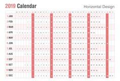 Horizontal 2019 Calendar design. Vector simple style. Sunday weekend. vector illustration