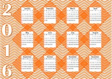 2016 horizontal calendar in orange design. With rhomboid elements on wavy background Stock Photo