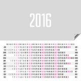 Horizontal calendar 2016 Stock Images