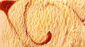 Horizontal caramel swirl ice cream close up Royalty Free Stock Photos
