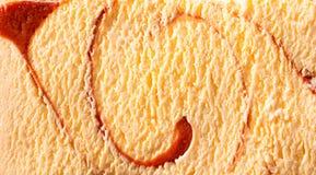 Horizontal caramel swirl ice cream close up Royalty Free Stock Photos