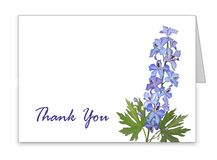 Horizontal card with a blue delphinium flower vector illustration