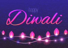 Horizontal  card of decorated background for Diwali with light garlands. Happy Diwali flyer Stock Photo