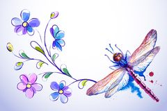 Horizontal card with dragonfly and blue flowers Royalty Free Stock Photos