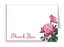 Horizontal card with peony flowers. Invitation, congratulations, attention signs. Vector stock illustration