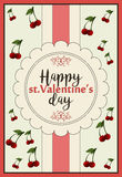 A horizontal card for st.Valentine`s day with greeting Happy Valentine`s day Royalty Free Stock Image
