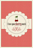 A horizontal card for st.Valentine`s day with greeting I love you cherry much Stock Images