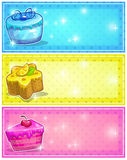Horizontal cards with cakes Stock Photos