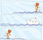 Horizontal cards with a kitten who lets boats Royalty Free Stock Images