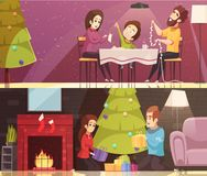Christmas Cartoon Banners Set. Horizontal cartoon banners set with people celebrating christmas at home  vector illustration Stock Images
