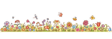 Horizontal Cartoon Flower Border. Colorful flower border with lots of cartoon flowers, grass and butterflies, no gradients stock illustration