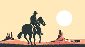 Horizontal cartoon illustration of cowboy in prairie wild west. Stock Photo
