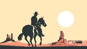 Horizontal cartoon illustration of cowboy in prairie wild west. Stock Photo