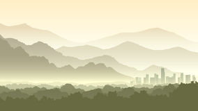 Horizontal Cartoon Illustration Of Misty Forest Hills With City. Royalty Free Stock Image