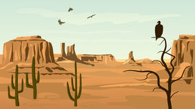 Horizontal cartoon illustration of prairie wild west. Royalty Free Stock Photos