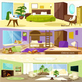 Horizontal Cartoon Living Room Interior Banners Stock Image
