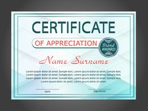 Horizontal certificate appreciation or diploma template with geometric modern background. Vector. Illustration Royalty Free Stock Image