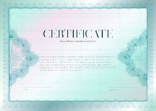 Horizontal certificate with guilloche and watermark vector template design. Diploma design graduation, award, success vector illustration