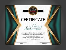 Horizontal Certificate Or Diploma Template With Gold And Turquoise Decorative Elements On White Background. Vector