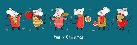 Free Horizontal Christmas And New Year Banner With Funny Cartoon Mice In Gold, Red, And Silver. Funny And Happy New Year Mice Royalty Free Stock Image - 161258156