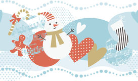 Horizontal Christmas background. With holiday's elements Royalty Free Stock Photo