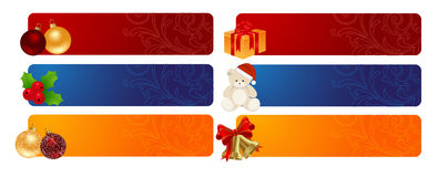 Horizontal Christmas backgrounds. Horizontal ornated Christmas or New Year backgrounds. Vector illustration Stock Photography